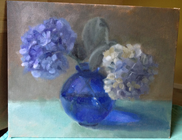 The hydrangeas went nuts this year.  I love them so much but was pretty nervous about how it would work out to paint them.  I love this, though.  Painted in natural light.  Can't wait to try again.